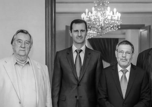 Башар Асад принимал в своей резиденции журналистов Александр Проханова и Михаила Леонтьева в апреле 2013 года