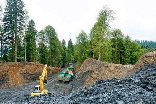 Участок, расчищенный под строительство комплекса «Газпрома» на Пихтовой поляне