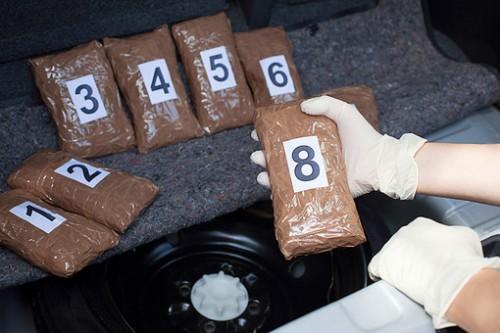 В багажнике машины, где находились офицеры Госнаркоконтроля, хранилось 35 кг гашиша и 7 кг кокаина