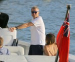 Roman Abramovich is seen boarding on a tender in St Barts