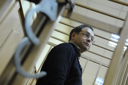 Экс-сенатор, топ-менеджер Моего банка Глеб Фетисов во время рассмотрения ходатайства следствия о мере пресечения в Басманном суде. Фотография: ИТАР-ТАСС