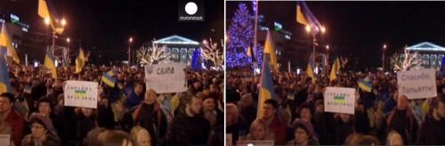 Реальный кадр из сюжета телеканала «Евроньюс» (слева) и кадр с монтажом (справа), вышедший на ролике в «ютьюб»