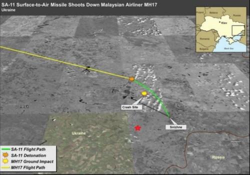 Опубликованная CNN фотография американского правительственного спутникового снимка, на котором показано, как и где «пророссийские сепаратисты» сбили рейс МН17 в небе Украины