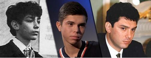 Борис Немцов в молодости (слева) и в зрелом возрасте (справа) и его сын Данила (в центре)