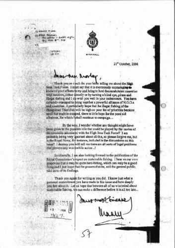 Письмо принца Чарльза министру охраны окружающей среды Эллиоту Морли