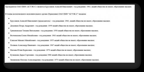 Скриншот фрагмента из годового отчета ОАО ПКФ «Астэк-С» 2008 года