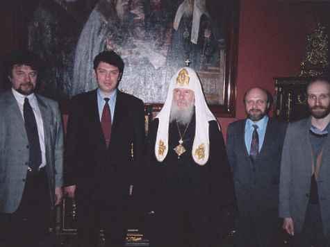 Встреча в резиденции патриарха 15 января 1998 года. На фото (слева направо): Виктор Аксючиц, Борис Немцов, Алексий II, Владимир Соловьев, Александр Шубин. фото: Из личного архива