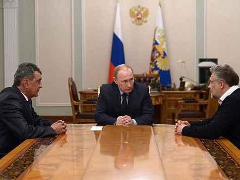 Встреча в Кремле: Путин, Чалый, Меняйло.