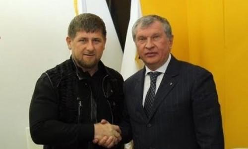 Глава Чечни Рамзан Кадыров и глава Роснефти Игорь Сечин
