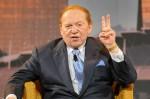 US gaming tycoon Sheldon Adelson gesture