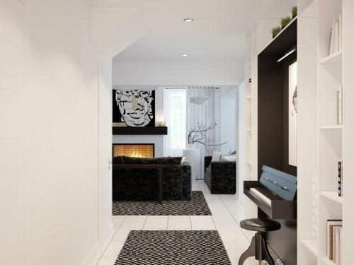 Интерьер в доме телеведущей выполнен в черно-белых тонах Фото: Архитектор Максим Дуреев