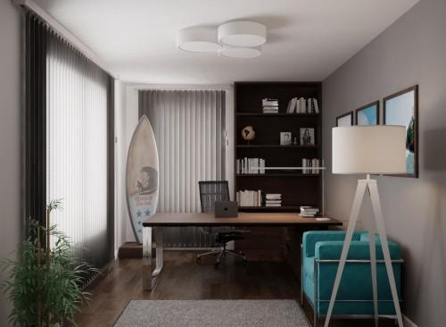 3D-макет кабинета в загородном доме Елены Летучей Фото: Архитектор Максим Дуреев
