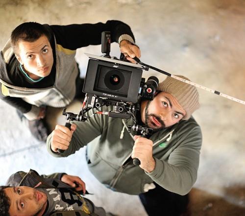 Николай Саркисов с Миндиа Эсадзе и Давидом Кикнадзе на съемках фильма «Красный» в Грузии (2013)