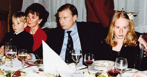 Владимир Потанин с женой Натальей, дочерью Анастасией и сыном Иваном