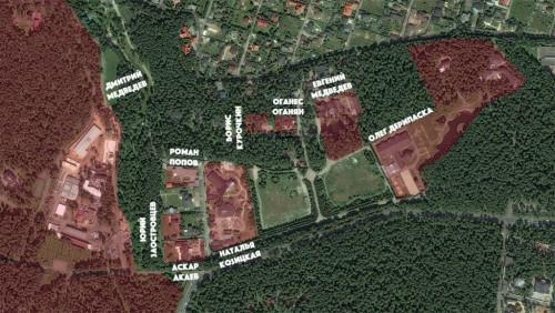 """Карта """"Зеленой лощины"""" с отмеченными участками"""